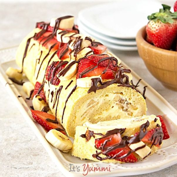 lightened-up-banana-split-cake-roll-sq-718x718